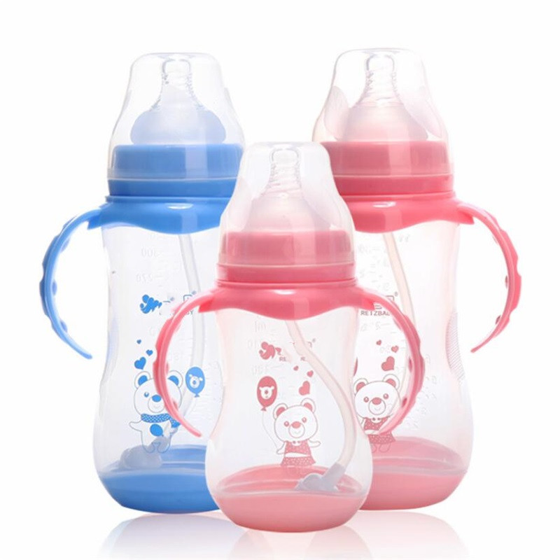 Anti-colic BPA Free Natural PP Milk Feeding Bottle Wide Mouth Water Bottle Handle Cup Cover  Baby Bottle