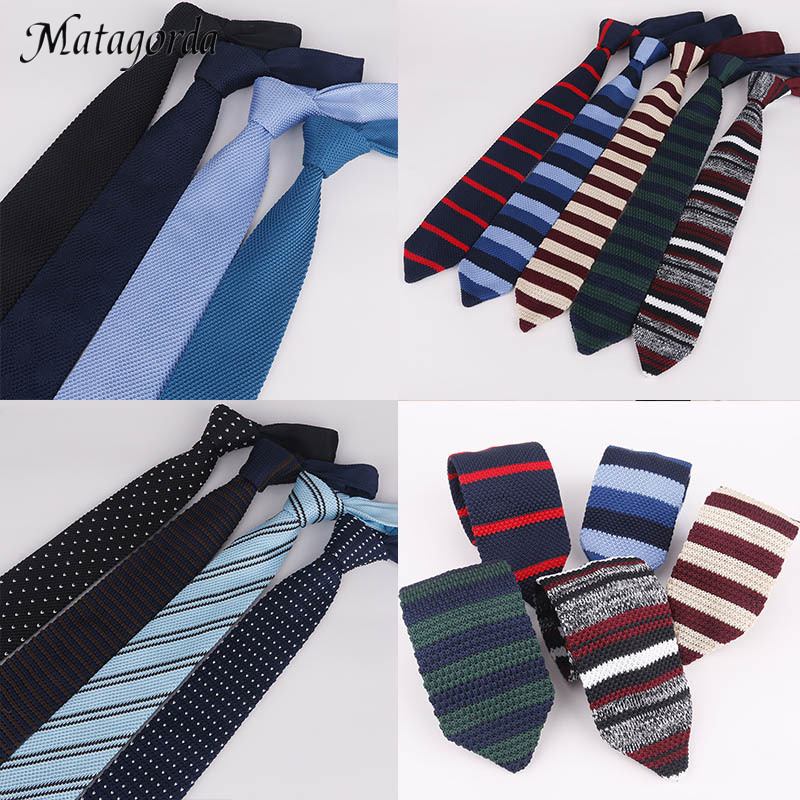Matagorda 7CM Knit Tie Classic Mens Necktie Cusp Lengthen Fashion Woolen Yarn Gravata Stripes Solid Color Ties Formal Neckwear