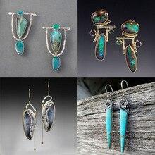 Étnico bohemio, Pendientes colgantes de piedra de resina verde para mujer, pendientes indios tribales Vintage, pendientes para mujer de moda 2019 Z4E680