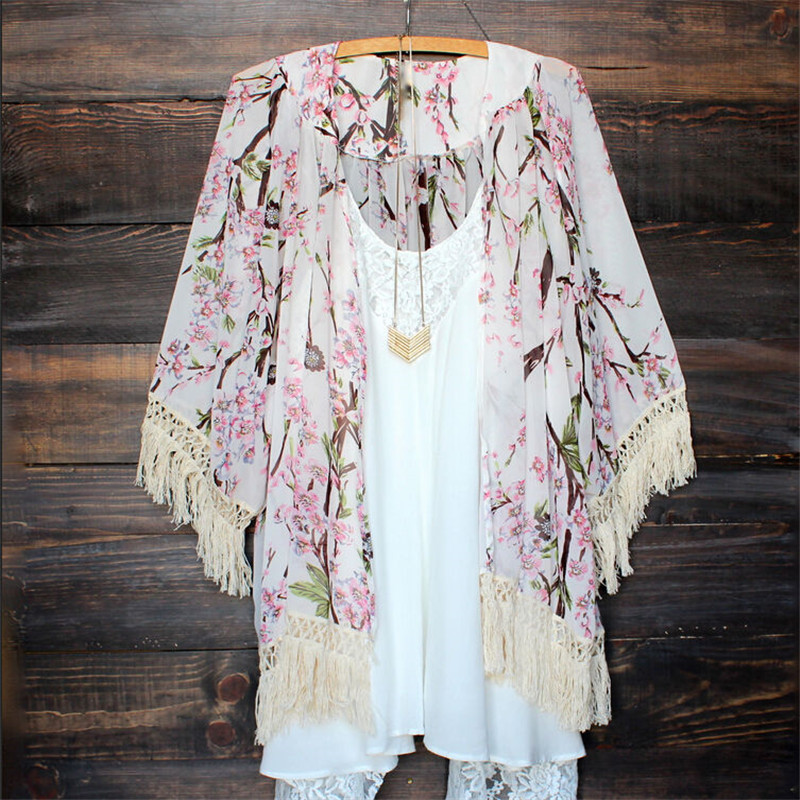 Chiffon Beach Cover Up 2020 Printing Swimwear Ladies Walk On Cape Pareos Robe De Plage Tunic Women Long Tassel Cardigan Feminino