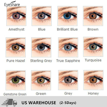 EYESHARE- 1 Pair 3 Tone Brilliant Colored Contact Lenses for Eyes Cosmetic Coloured  Eye Lenses Contacts