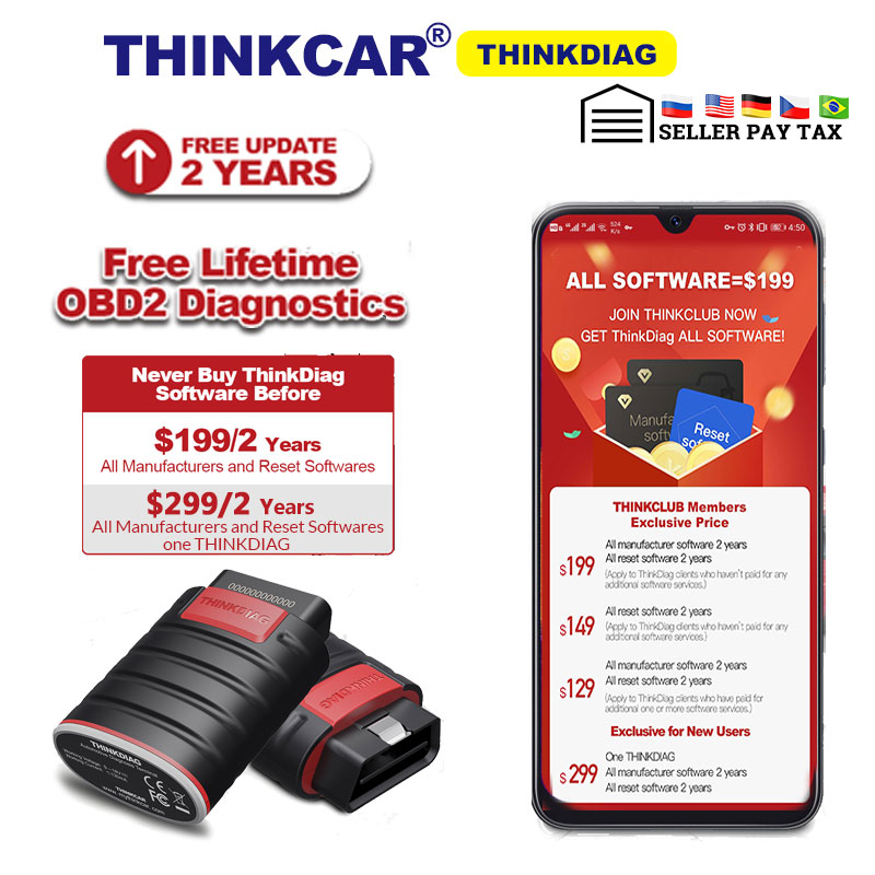 Thinkdiag same as easydiag 3 0  X431 Bluetooth adapter update online full system OBD2 Scanner Diagnostic Tool easy diag