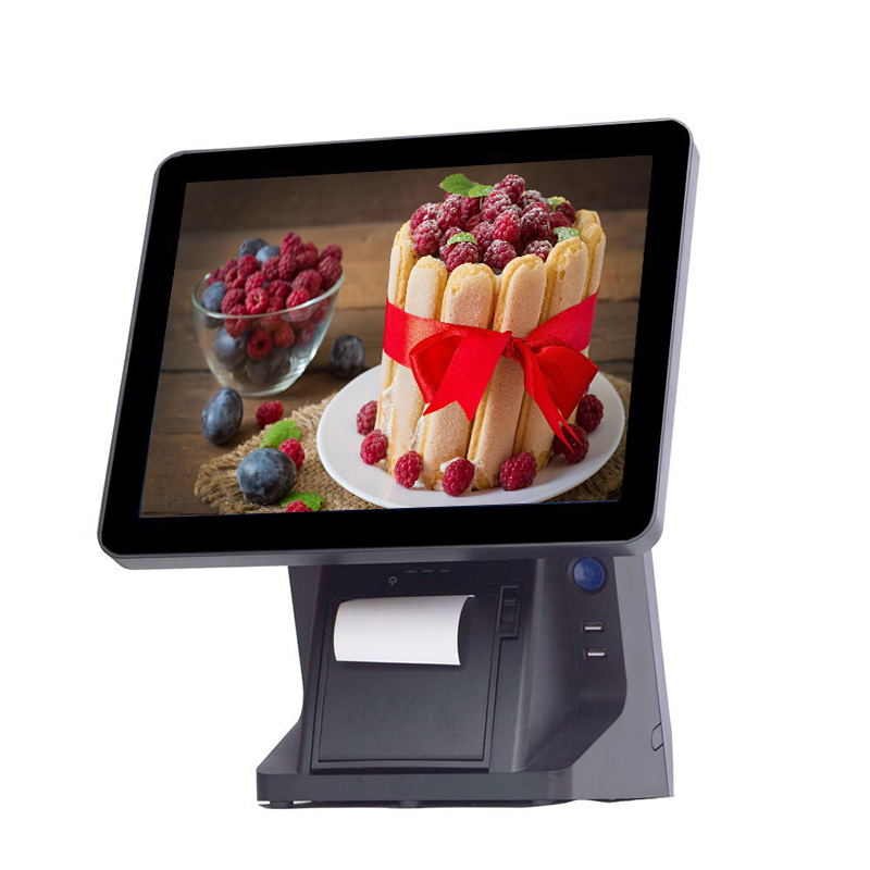 Android pos terminal 15 inch touch screen pos all in one system <font><b>cashier</b></font> <font><b>machine</b></font> with 58mm thermal printer VFD image
