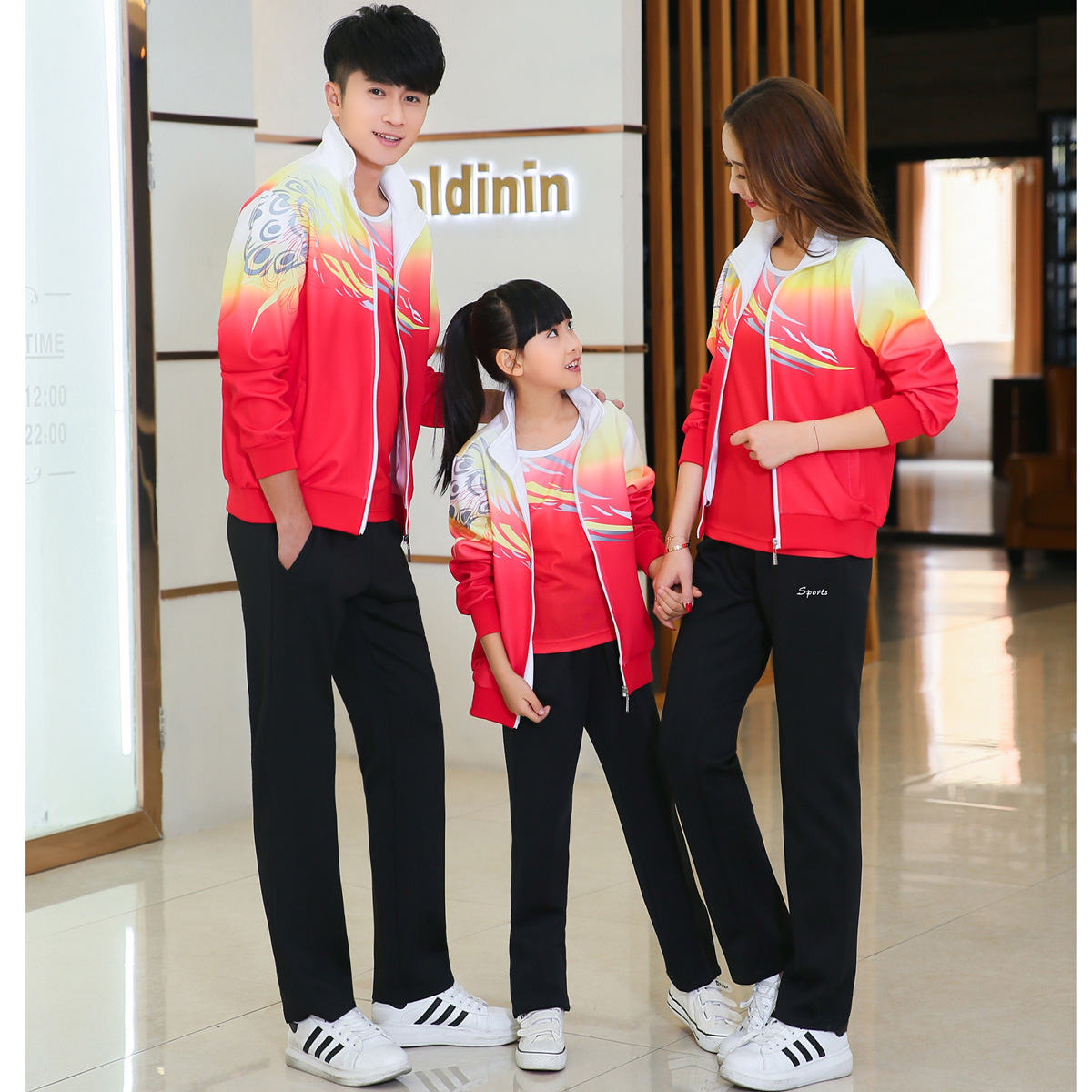 Spring And Autumn Sports Clothing Feng Feather Parent And Child Set Long Sleeve Men And Women Coat Primary School STUDENT'S Scho