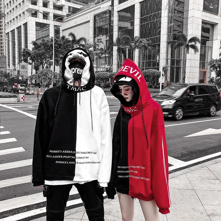 MAMC Double Cap Demon Eyes Plus Velvet Mixed Colors Hoodie Origional New Style Women's Men's Couples Celebrity Style Oversize