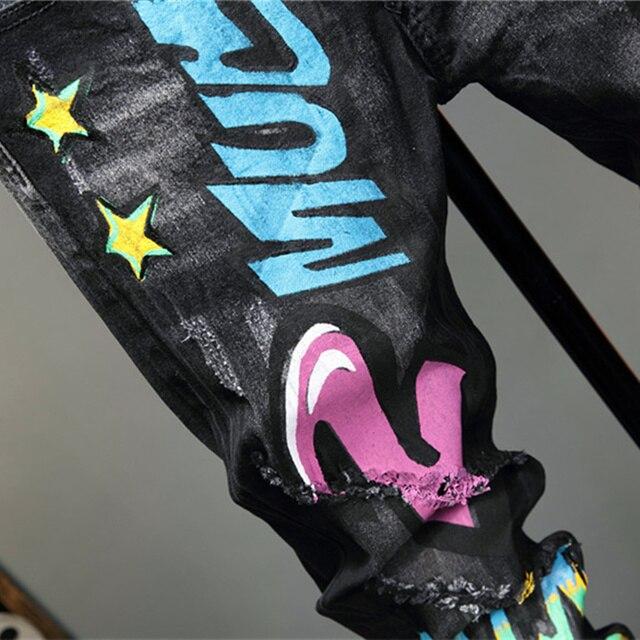 Pantalones vaqueros con Graffiti para hombre, pantalón informal de otoño, microelástico, estampado, a la moda, con personalidad 4