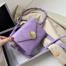 Mini Stone Pattern Solid Color PU Leather Flap Bags Female Crossbody Ba