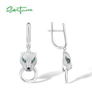 Image 3 - Boucles doreilles en argent SANTUZZA pour femmes pur 925 en argent Sterling boucles doreilles panthère longue zircon cubique brincos bijoux fins