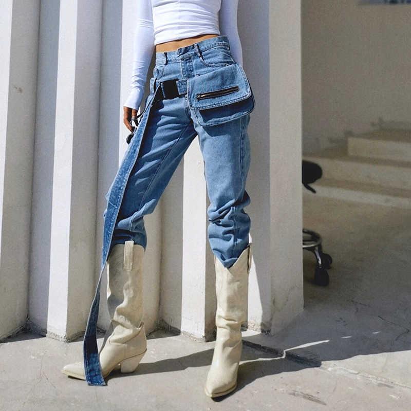 TWOTWINSTYLE Casual Quaste Spitze Up Schärpen Tasche frauen Hose Hohe Taille Lose Breite Bein Hosen Für Weibliche Mode 2019 kleidung Flut