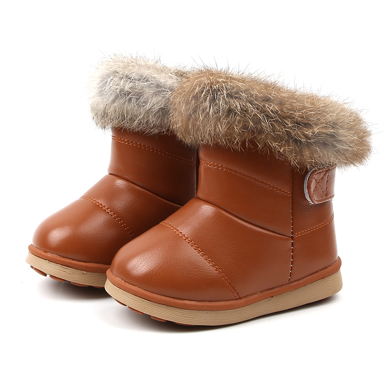 2019 Baby Snow Boots For Girls Boys Winter Boots Baby Rabbit Fur Warm Plush Winter Shoes Kids Warm Cotton Shoes Boots