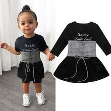 Милое детское платье для маленьких девочек+ пояс, 2 предмета, От 1 до 6 лет платье трапециевидной формы с длинными рукавами и буквенным принтом+ клетчатый жилет с поясом, комплект одежды