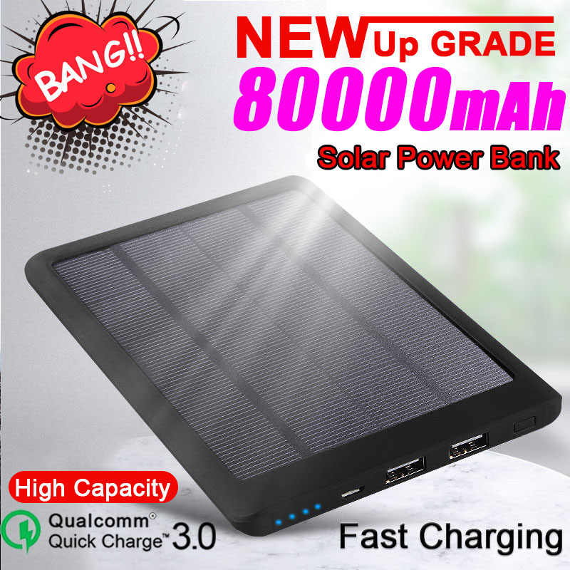 80000mah Solar Power Bank Externe Batterie Tragbare Lade Lade PoverBank Power für Samsung Xiaomi Iphone