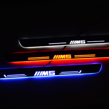Acrylic LED Moving Scuff Plate Guard Protector ForBMW 5 E39 1995-2003 Door Sills Trim Welcome Light Car Sticker Accessories led door sill moving for bmw 3 touring e46 e91 2004 2012 scuff plate acrylic door sills car welcome light sticker accessories