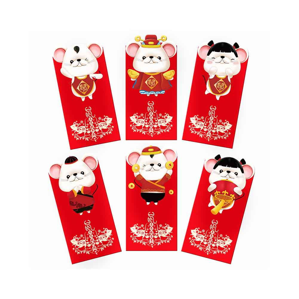 6pcs/set Gift Rat Packet 2020 Chinese New Year Wedding Hong Bao Money Pocket Cartoon Cute Traditional Lucky Red Envelopes Paper