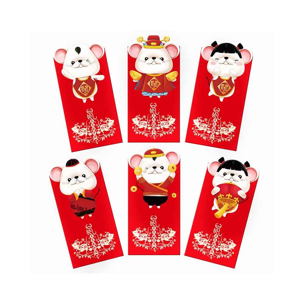 6pcs/set Gift Rat Packet 2020 Chinese New Year Wedding Hong Bao Money Pocket Cartoon Cute Traditional Lucky Red Envelopes Paper