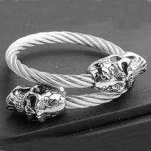купить Stainless Steel Gothic Punk Skull Biker Bracelet For Men Women Cuff Bangle Open Bracelets Retro Male Jewelry Bracelet & Bangles дешево