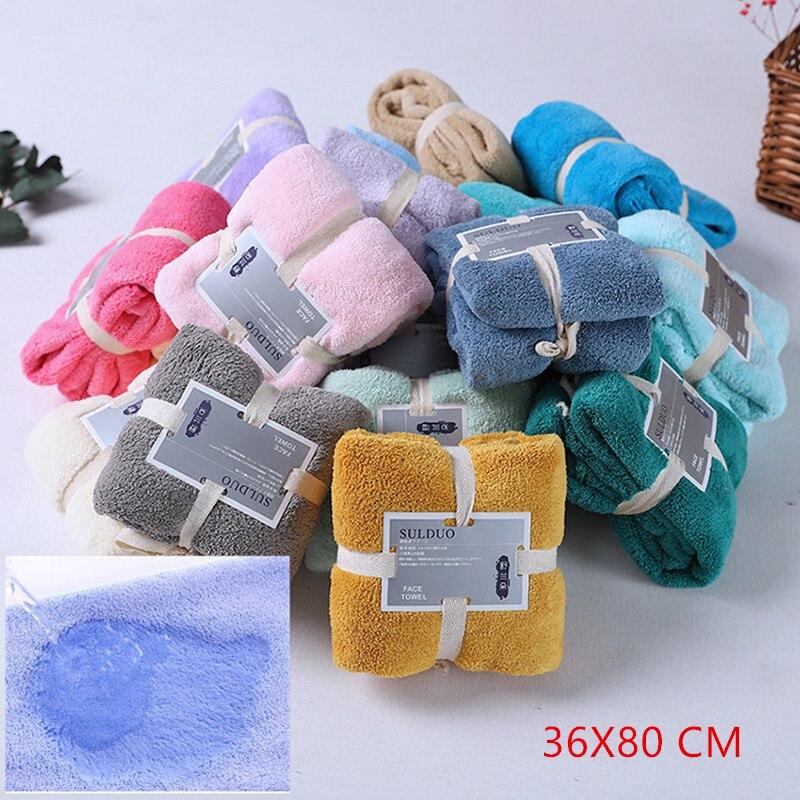 Serviette de salle de bain domestique multicolore 80x36cm, serviette de cheveux à séchage rapide, serviette de lavage du visage absorbant, serviette en microfibre pour hommes et femmes