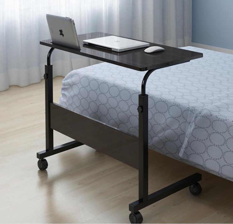 Регулируемый компьютерный стол с колесами, портативный стол для ноутбука, вращающаяся кровать для ноутбука, мягкий может быть поднят стоячий стол