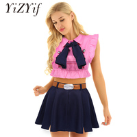 Women Japanese Anime Cosplay Costume Turn down Collar Sleeveless Crop Tops with High Waist A line Short Skirt Bow Tie and Belt