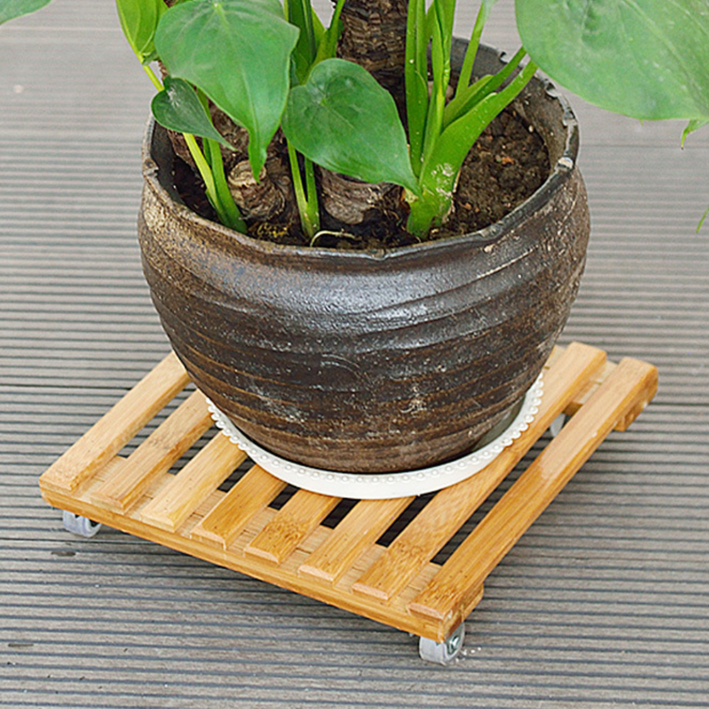 Balcony Flower Plant Pot Stand Base Moving Tray With Wheel Tray Torus Holder Wood Square Plant Caddy Plant Stand with Roller