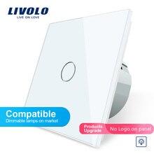 Livolo ЕС Стандартный светильник Диммер, кристальная стеклянная панель, 1 комплект 1 позиционный переключатель диммер 220 В, совместимые лампы с регулируемой яркостью, без логотипа