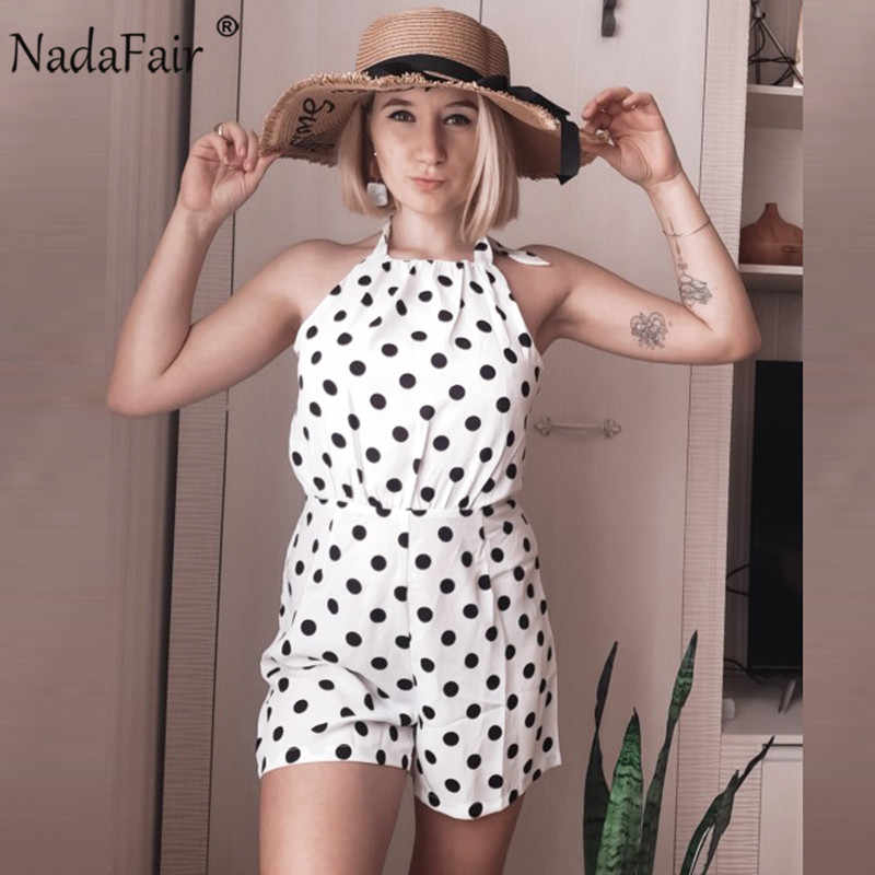 Nadafair Chiffon Playsuit 2020 Witte Polka Dot Zomer Strand Off Shoulder Backless Halter Sexy Korte Jumpsuit Vrouwen