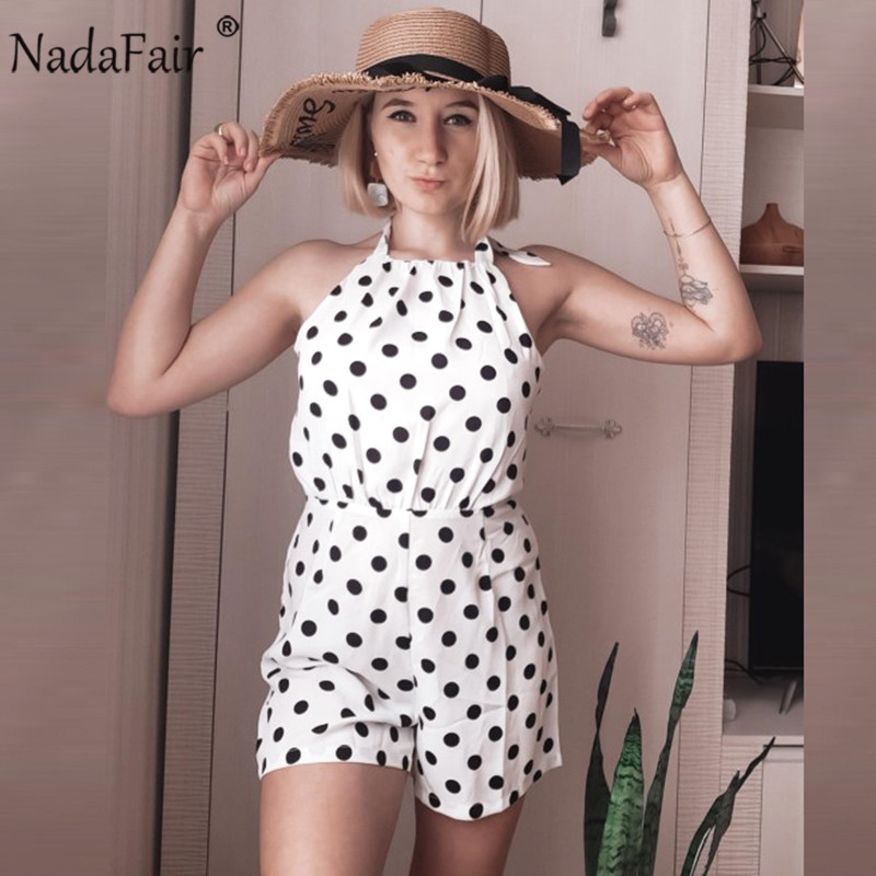 Nadafair Chiffon Playsuit 2020 White Polka Dot Summer Beach Off Shoulder Backless Halter Sexy Jumpsuit Women