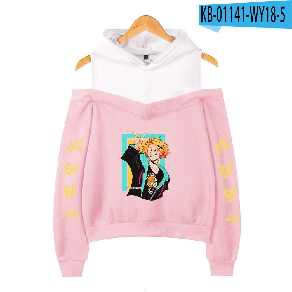 My Hero Academia Hoodies Female Off Shoulder Sweatshirt Women's Pullover Harajuku Streetwear Denki Kaminari 2021 Anime Clothes 9