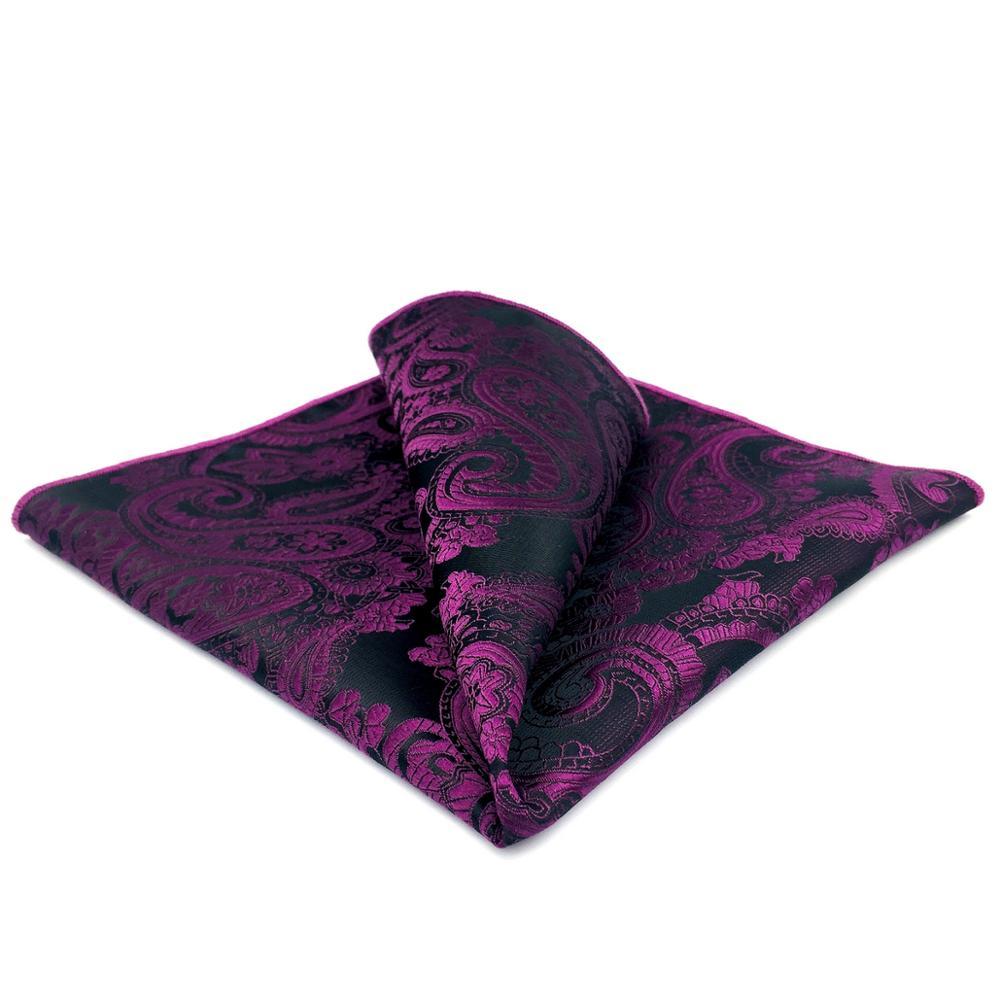 GH11 Purple Paisley Mens Pocket Square Silk Fashion Wedding Handkerchief Party Classic Hanky Gift