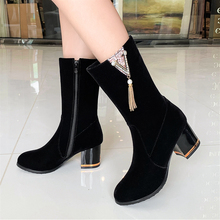 Plus Size 34-43 Fashion 2020 New Women Boots Autumn Winter Ladies Shoes Flock Ankle High Heel Sexy Suede