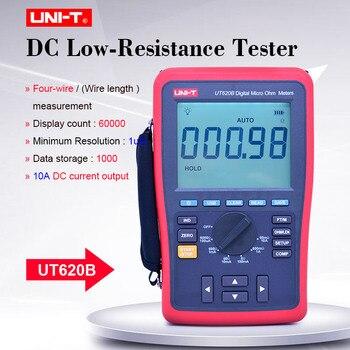Medidor Digital de Micro ohmios UNI-T UT620B DC probador de baja resistencia 60mO-6kOhm ohmímetro almacenamiento de datos 4 cables medición USB transferencia de datos