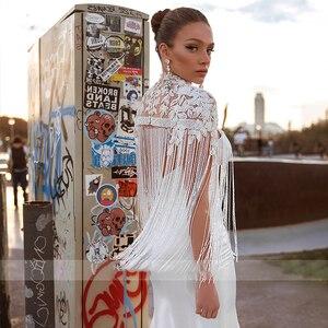 Image 4 - BAZIIINGAAA  Luxury Wedding Dress Tassel Applique Turtleneck Sleeveless Mermaid Wedding Satin Bridal Support Tailor made