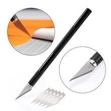 EHDIS Car Wrap narzędzia metalowy uchwyt skalpel nóż artystyczny + 5 sztuk zapasowe ostrza Vinyl Film Cutter drewna cięcie papieru narzędzia naprawa narzędzia