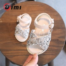DIMI 2020 New Girl Baby Sandals Sequin Rhinestone Little Girl Princess Sandals 0-3 Year Summer Toddlers Shoes Flat Soft