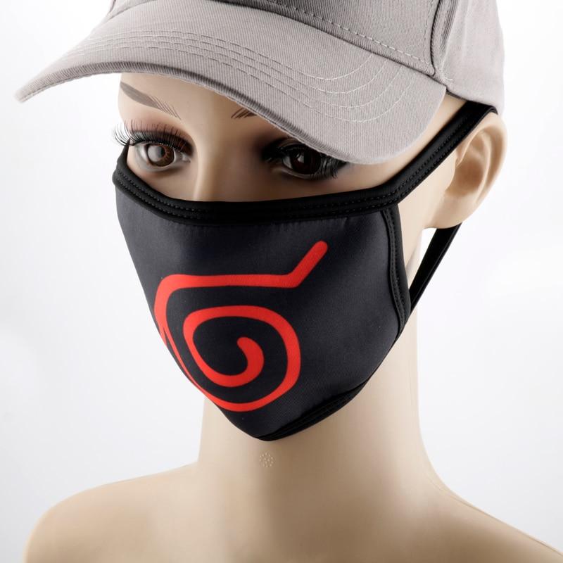 Anime NARUTO Uchiha Itachi Cosplay Mask Konoha Akatsuki Red Cloud Symbol Child Adult Street Sports Half Face Dust-Proof Masks 4