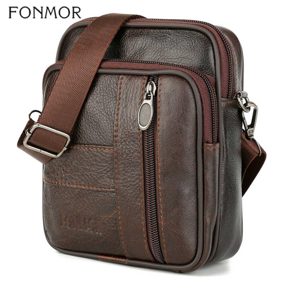 Fonmor 100% prawdziwej skóry mężczyzna talii pakiety etui na telefon torba na klatkę piersiową talii torba męska mała na ramię pas torba na zamek błyskawiczny Casual Men