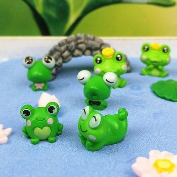 6pc חמוד צפרדע בעלי החיים מיניאטורות פיות גן קישוט DIY זכוכית דקור קטן דברים צלמית פסל דגם מלאכת עיצוב הבית
