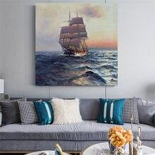 Pintura em tela navios vela no vento e ondas cartaz impressão a óleo fresco sala de estar quarto pintura decorativa