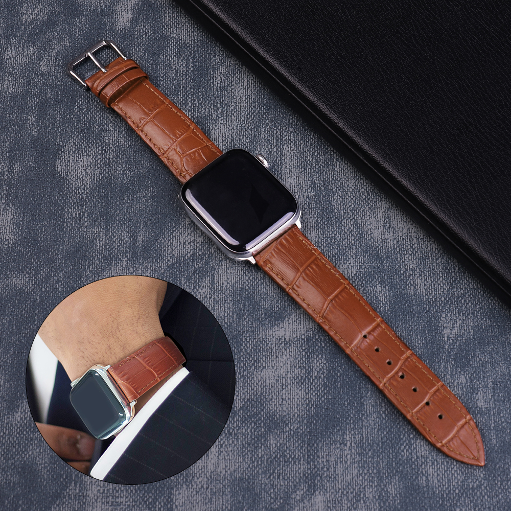 For Apple Watch Band 44mm 40mm Apple Watch Leather Belt Smart Watch Strap 4 5 42mm 38mm Iwatch 3/2/1 Replacement Bracelet