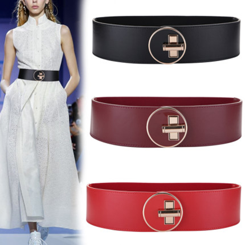 Nuleez  Cummerbunds Women Genuine Leather Cowhide Fashion Wide Belt Ins New Collection