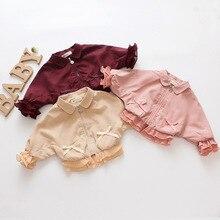 Модная однотонная хлопковая куртка на молнии с длинными рукавами для маленьких девочек; сезон осень-зима верхняя одежда; От 0 до 3 лет