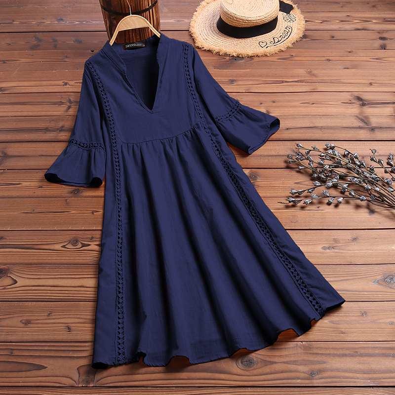 ZANZEA Summer Bohemian Lace Dress 2021 Women's V Neck Flare Sleeve Sundress Female Hollow Patchwork Robe Femme Tunic Vestidos 7