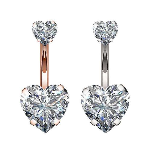 Zircon Crystal Belly Button Rings For Women Nombril Ombligo Navel Ring Surgical Steel Barbell Heart Round Body Piercing Jewelry 2