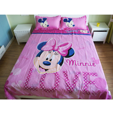 Disney Lovely Pink Minnie Mouse Winnie Duvet Cover Set 3 or 4 Pieces Twin Single Size Bedding Set  for Children Bedroom Decor