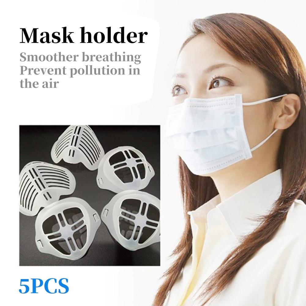 5pcs 3D Mouth Mask Support Breathing Assist Mask Inner Cushion Bracket Silicone Reusable Mask Holder Mask Bracket Face Skin Care