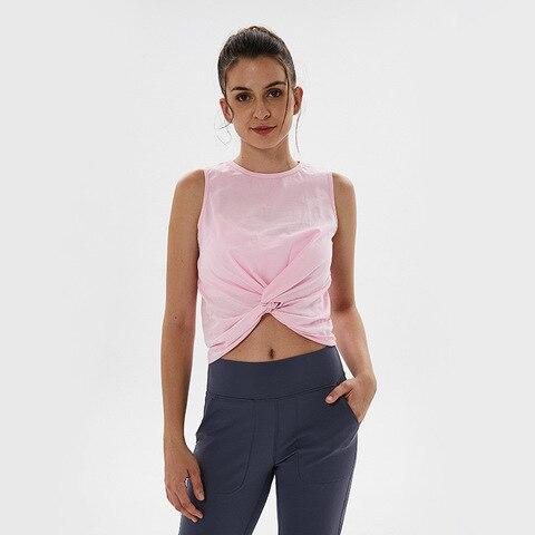 Curto sem Mangas Ginásio de Esportes de Corrida Bonito Frente Torção Yoga Tanque Treino Encabeça Sportswear Aptidão Mulheres Comfy Cotton Top Camisas