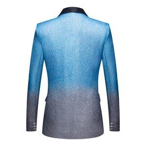 Image 2 - PYJTRL nowy mężczyzna Artistry gradient błyszczące niebo niebieski Blazer klub nocny etap piosenkarka sukienka na studniówkę garnitur kurtka ślub kostium