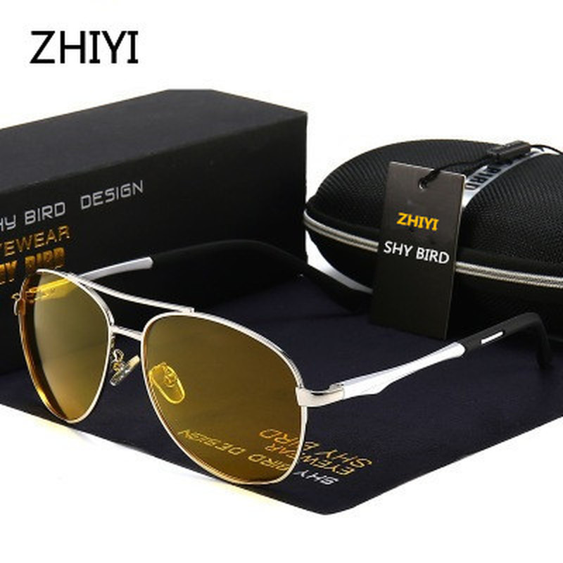 ZHIYI Brand Aluminum Polarized Yellow Night Driving Glasses Men Women HD Lens Anti-glaring Driver s Car Glasses Retro Sunglasses