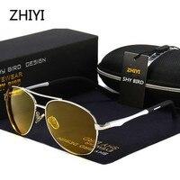 ZHIYI Marke Aluminium Polarisierte Gelb Nacht Fahren Gläser Männer Frauen HD Objektiv Anti eklatante Fahrer der Auto Gläser Retro sonnenbrille