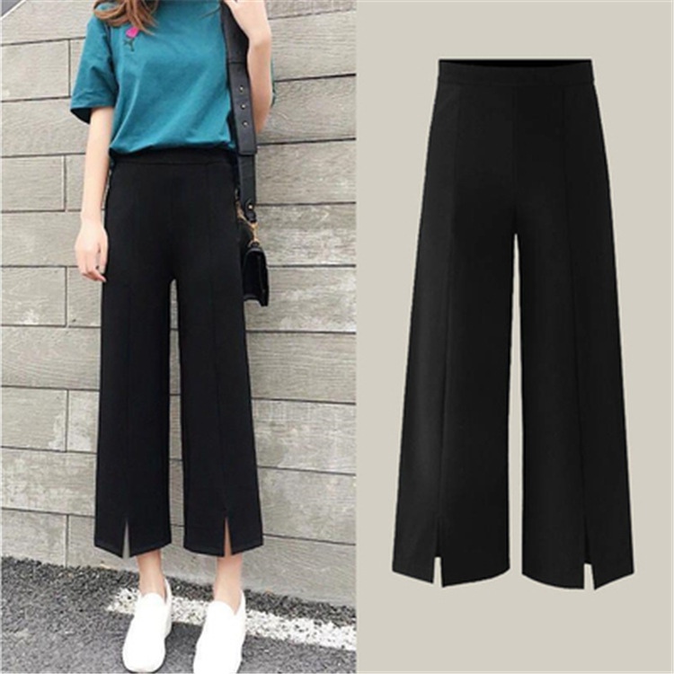 Versatile Loose   Pants   WOMEN'S   Pants   Summer High-waisted Loose-Fit   Capri     Pants   Pendant Sense Straight-Cut   Capri   Slimming Thin Cas